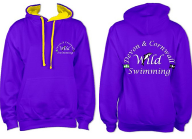 Devon & Cornwall Wild Swimming hoody in purple with yellow contrast £28