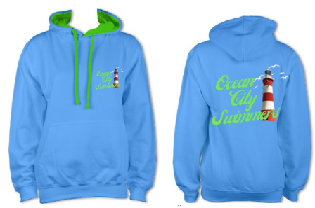 Ocean City Swimmers hoody in sapphire blue with green Contrast £28