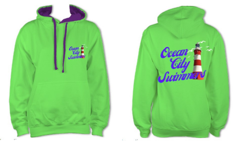 Ocean City Swimmers hoody in green with purple contrast £28